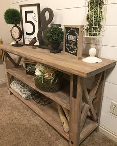 Industrial Farmhouse X-style Entry Table LOCAL ONLY / rustic