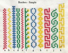 Items similar to Machine Embroidery Crossstitch Simple Borders on Etsy Tapestry Crochet Patterns, Crochet Stitches Patterns, Baby Knitting Patterns, Cross Stitch Borders, Cross Stitch Designs, Cross Stitch Patterns, Simple Embroidery, Cross Stitch Embroidery, Embroidery Software