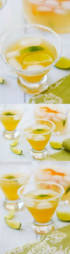 Orange-Lime Margarita - the easiest, best and most refreshing margarita ever with fresh orange juice, lime juice and loads of tequila. Rim glass with corn syrup, turbinado sugar, and chill. Margarita Bar, Lime Margarita Recipe, Margarita Recipes, Summer Cocktails, Cocktail Drinks, Cocktail Recipes, Drink Recipes, Summer Beverages, Fruity Cocktails