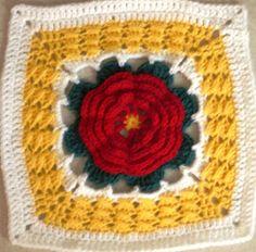Red Camellia Flower Square | AllFreeCrochetAfghanPatterns.com