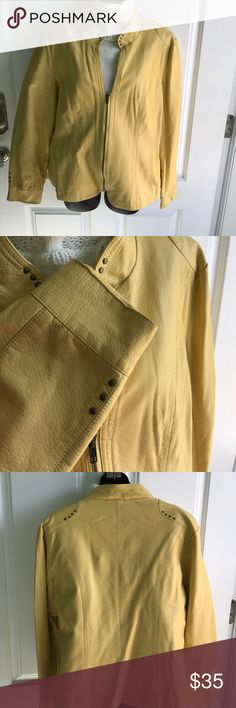"FANTAZIA jacket XL lined This jacket new without tags. Mustard yellow.  Shoulder to cuff 24"". Shoulder to hem 24"" yellow is a Frenches mustard yellow. XL FANTAZIA Jackets & Coats"