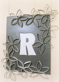 decorative monogram wall art with toilet paper roll flowers