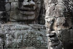 Smiling faces in Bayon Temple Wall Mural | Eazywallz