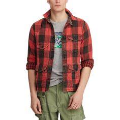 f2d12b8d2f80 Polo Ralph Lauren Men Vtg Distressed Buffalo Red Plaids Tartan Work Shirt  Jacket