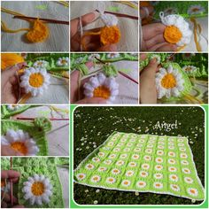Crochet daisy flower baby blanket with FREE patten.#diy #crafts #crochet