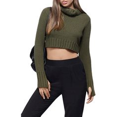 Womens Plain Turtleneck Long Sleeve Crop Top Sweater Green (371.985 IDR) ❤ liked on Polyvore featuring tops, sweaters, green, turtleneck sweater, long sleeve turtleneck, turtleneck top, cropped sweater and turtle neck sweater