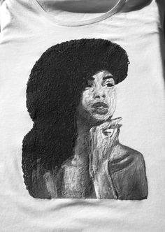 Afro T shirt Natural Hair Afrocentric  T-shirt   Black & White Artistic Tee Beauty Portrait, Female Portrait, Female Art, Woman Portrait, Black Women Art, Black Art, Black Rock, Black White, T Shirt Painting