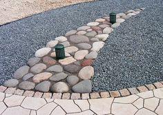 River Rocks, concrete pavers, gravel, cobblestones