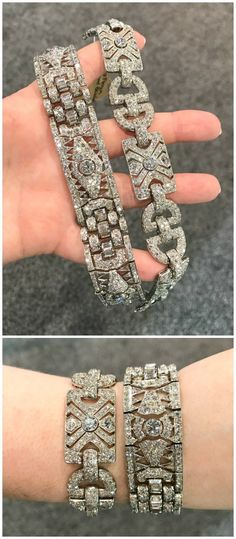 Two fantastic Art Deco diamond bracelets from Steve Fishman.