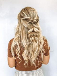 braids half up half down bridal hair braid inspo wedding hair prom hair beach waves curlsboho hair Hair by Cassie Parkinson. Long Hair Wedding Styles, Wedding Hair Down, Wedding Hair And Makeup, Long Hair Styles, Beach Wedding Hair, Hair Down Prom Styles, Wedding Hair With Braid, Prom Hair Down, Bridal Hairstyles With Braids