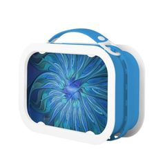 Blue Flower Fantasy Pattern, Abstract Fractal Art Lunch Box