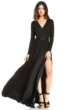 DailyLook: Vivian Jersey Knit Wrap Maxi Dress in Black XS - XL from DailyLook. Saved to Long Dresses. Evening Dresses, Prom Dresses, Long Dresses, Sleeve Dresses, Maxi Wrap Dress, Dress Long, Floor Length Dresses, Maxi Skirts, Holiday Dresses
