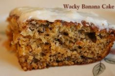 Wacky Banana Cake with Lemon Frosting  http://www.momspantrykitchen.com/wacky-banana-cake-with-lemon-frosting.html