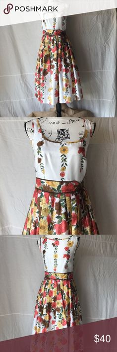Ann Taylor Loft floral pleated waist dress Great floral pattern. Throw a cardigan over it and wear in the transition to fall! Fully lined. Perfect condition. Ann Taylor Loft Dresses Midi