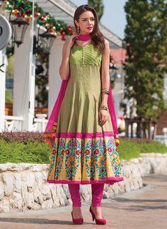 Green Cotton Silk Anarkali Suit