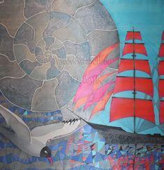 Hand painted gray silk scarf Scarlet sails wrap Handmade
