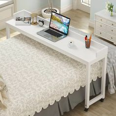 Overbed Table with Wheels, Mobile Desk with Heavy-Duty Metal Legs Super Sturdy and Stable Mobile Desk, Mobile Computer Desk, Diy Office Desk, Office Ideas, Office Decor, Rolling Desk, Overbed Table, Farmhouse Desk, Simple Desk