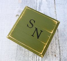 Avocado GREEN Monogrammed Trinket Box - Small Colorful Painted Wood Jewelry Box in Deep Olive Green