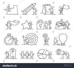 Business icons set of sketch working little people with lamp idea, target. Doodle cute miniature scenes of workers. Hand drawn cartoon vector illustration for business design and infographic.