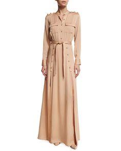Self Portrait Camel Long Sleeve Crepe Military Maxi Dress