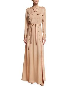 Self Portrait Camel Long Sleeve Crepe Military Maxi Dress