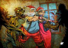 Santa kicking Zombie butt