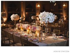 Gorgeous floral arrangement & table set up. Biltmore Los Angeles Wedding: Helen + Eric (via Jasmine Star Photography)