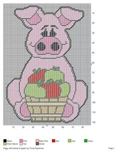 PIGGY WITH BASKET OF APPLES by TRICIA-PIGSNKISES