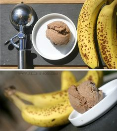 Place 4 ripe, frozen bananas in a food processor. Process until smooth, scraping down the sides of the bowl as needed. This will take a bit of work, but the bananas will become smooth.  Add in 3 tablespoons Nutella, processing until evenly mixed. Eat right away for a soft serve-texture. Or freeze until hardened.