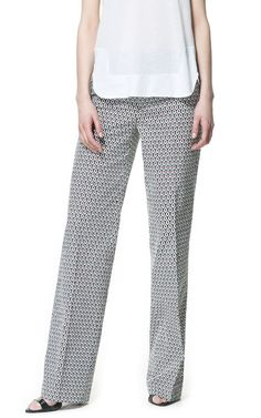 PRINTED BELL BOTTOM TROUSERS from Zara