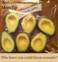 UMMM this is awesome — Freeze your avocados {keeps up to 6 months!} buy them when their cheap! It works well!!!