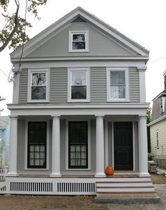 An Urban Cottage: Exterior Paint, Before and After *1842 Greek Revival cottage* Windows and porch!