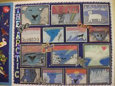 This is a beautiful display on The Arctic - using chalks - Moorhouse Primary School