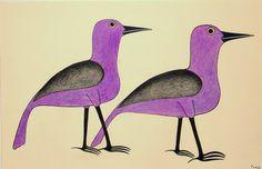 Purple Birds Walk by Kenojuak Ashevak ink & coloured pencil Arte Inuit, Inuit Art, Inuit People, Happy Owl, Purple Bird, Bird Paintings, Bird Patterns, National Treasure, Art Therapy