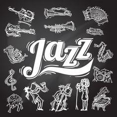 Jazz Chalkboard Set Free Vector