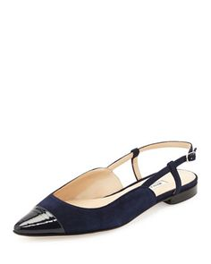 Prizzi Suede Cap-Toe Slingback Flat, Navy by Manolo Blahnik at Bergdorf Goodman. Sensible Shoes, Pointy Flats, Manolo Blahnik Heels, Slingback Flats, Blue Handbags, All About Shoes, Dream Shoes, Fashion Heels, Blue Shoes
