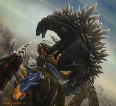 Flying Godzilla jump kick! Godzilla vs. Megalon fan art.