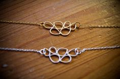 Gold Geometric Swirly Charm Necklace on a Delicate by RWSJEWELRY, $13.00