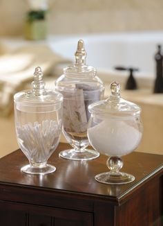 Small Bathroom Jars pottery barn. glass canisters are great. i use these all the time