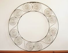 Scrolled Metal Wall Medallion, Wire Art, Metal Art Wall Decor, Geometric Circle, Wire Medallion Decor - SOLD!
