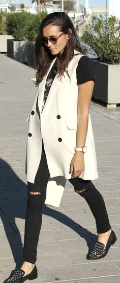 White Long Vest Outfit Idea by Coohuco