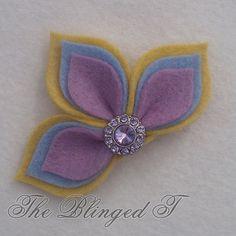 Chic Fleur De Lis Felt Flower Hairbow Clip with Bling Button Center (Mellow Yellow, Robins Egg, Wisteria)