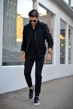Black on Black | Men's Casual Outfit | Bomber Jacket | Shop Menswear at designerclothingfans.com