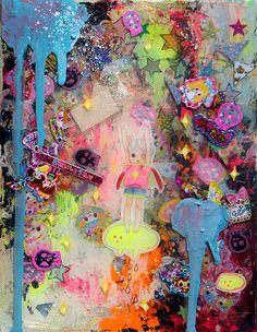 """hikarishimoda: """" """"2013_5_1""""""""2013_5_2""""2013 180mm×140mm キャンバス、アクリル、メディウム、シール、コラージュ、油彩 canvas, acrylic, medium, Stickers, Collage, oil 個人蔵 Private collection hikari..."""