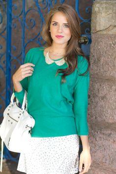 Teal jumper/sweater, Peter Pan collar necklace, Floral skirt
