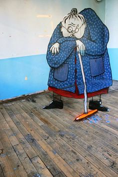"""French street artists Ella and Pitr have added new pieces to their mind-bending work with optical illusions that can only be """"seen"""" from a. Graffiti Murals, Art Mural, Street Art Graffiti, Saint Etienne, Amazing Optical Illusions, Sunflower Art, Wow Art, Weird Pictures, Chalk Art"""
