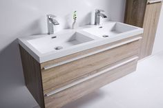 "48"" Sofia - Wheat - Double Sink Wall-Hung Bathroom Vanity"