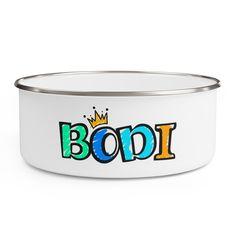 Bodi's Bowl by NiceMugShop on Etsy Sarah Butler, Pug Mug, 3 Shop, Cute Mugs, Dog Bowls, Coffee Cups, Vibrant Colors, Cool Designs, Custom Design