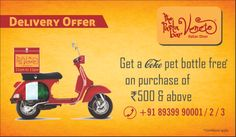 Get a Coke Pet Bottle Free on Purchase of Rs. 500 & above. Offer Valid in TPBV Chennai and Pondicherry restaurants only.  For Home Delivery Call 8939990001/2/3