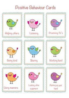 Positive behaviour cards
